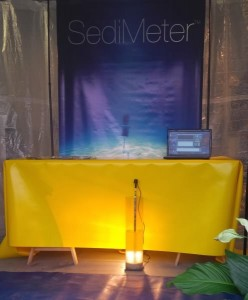 A SediMeter™ SM3A in the test tank that was used for the accuracy tests. On Monday February 1st, 2016, a public demonstration of the accuracy will be made using this tank.